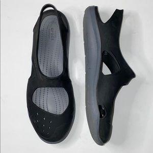 Crocs Black Gray Swiftwater Wave Sandals